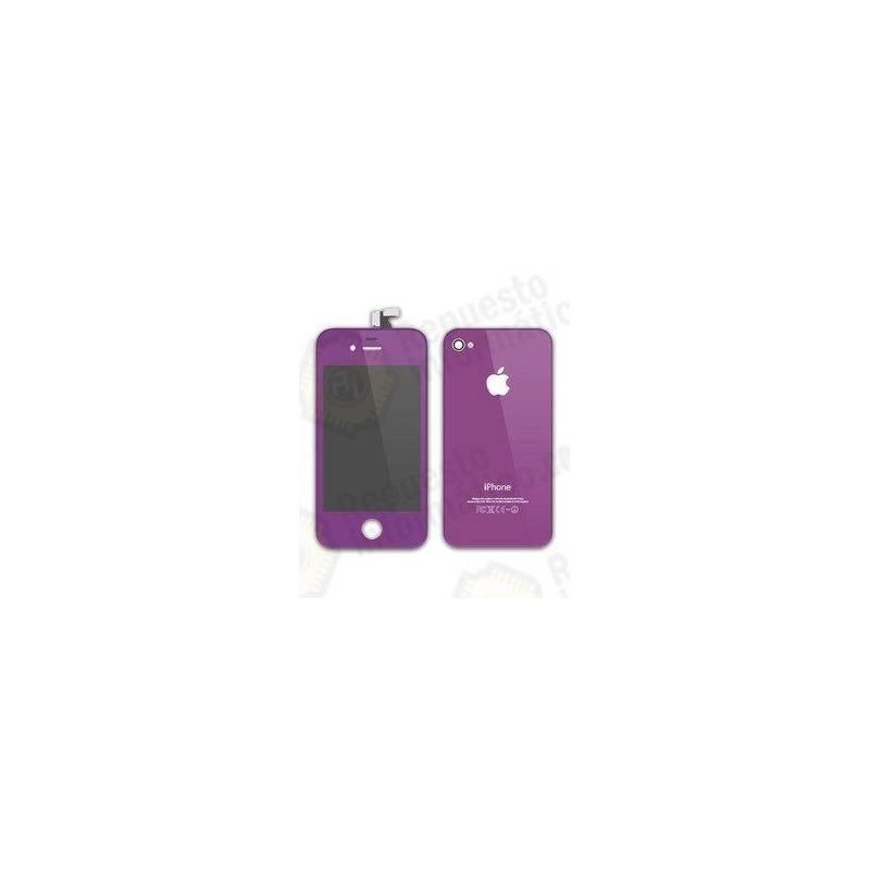 Kit Pantalla LCD + Tapa Trasera iPhone 4G violeta