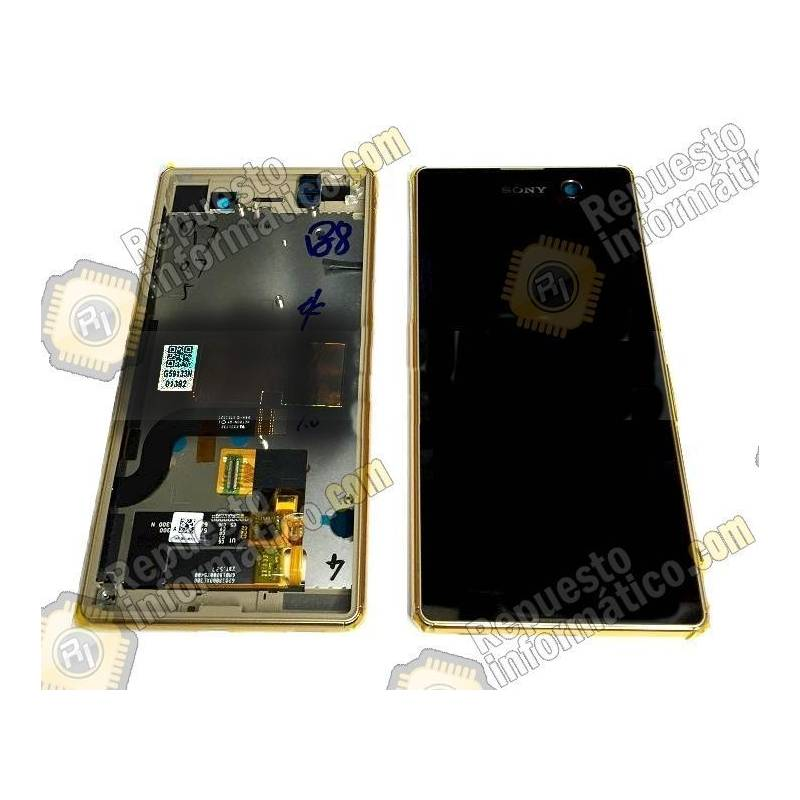 Pantalla (LCD+Táctil+Marco) Xperia M5 (Negra/dorada)