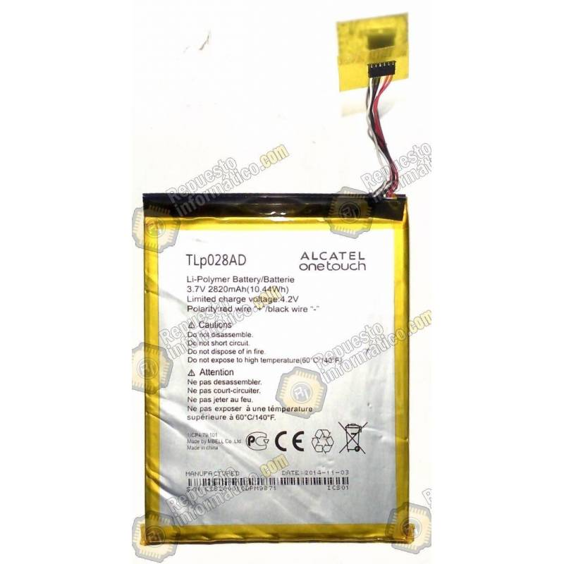 Batería TLP028AD para Alcatel One Touch Pixi 7 (desmontaje)