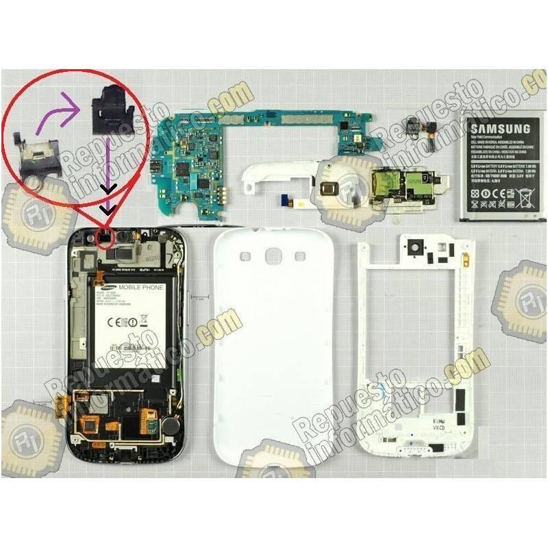 Placa metalica y goma-proteccion sensor de proximidad de Samsung i9300 S3