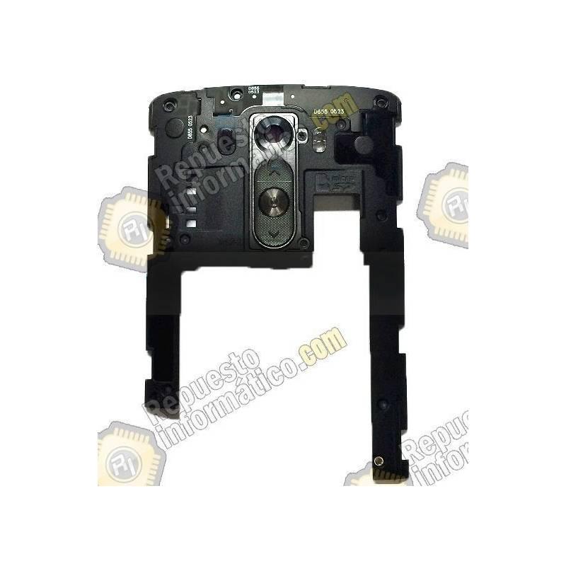 Carcasa intermedia+lentilla+Botones LG D855 Optimus G3 Chasis Negro (Swap)