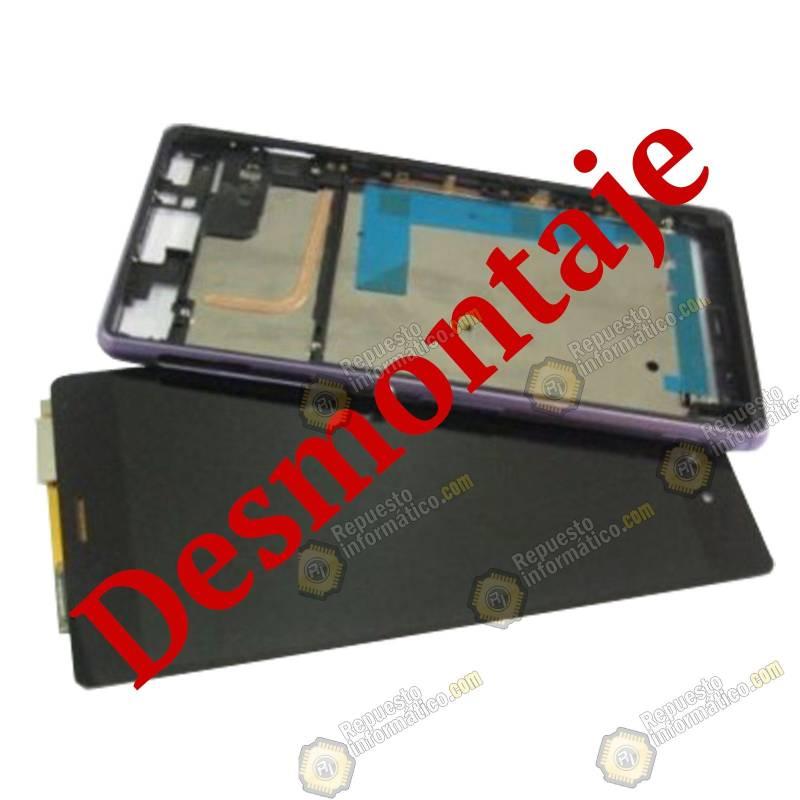 Pantalla Morada (LCD+Táctil+Marco) Xperia Z3 D6603 Original Recuperada